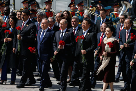 World leaders in Moscow on May 9. Source: AP