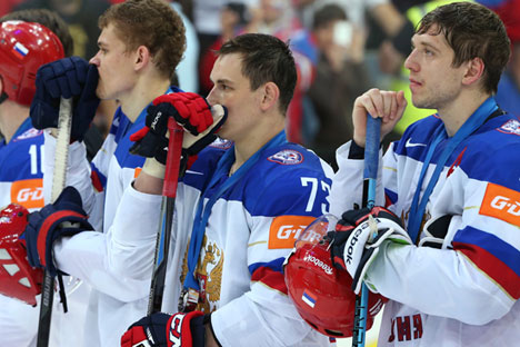 Russia's players after the finals between the national teams of Canada and Russia at the 2015 IIHF Ice Hockey World Championship. Source: Grigory Sokolov / RIA Novosti