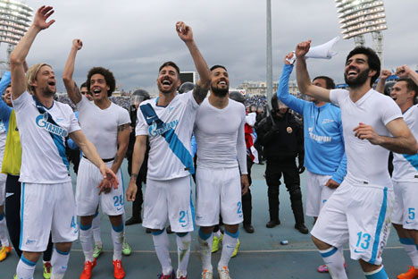Zenit's players celebrate their victory in the Russian Football Championship. Source: Ruslan Shamukov/TASS