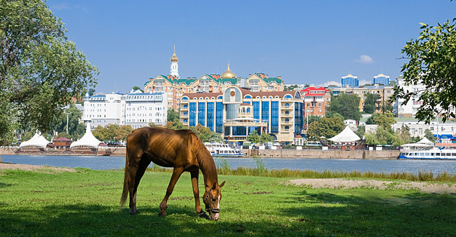 Horse grazing in the background of the waterfront city of Rostov-on-Don. Source: Lori/Vostock-Photo