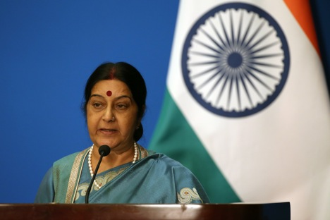 "Sushma Swaraj: ""Russia and India these ties are based on mutual trust"". Source: EPA"