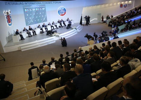 "A panel session titled ""BRICS Business Forum"" as part of the 19th St. Petersburg International Economic Forum. Source: Sergei Savostyanov/TASS"