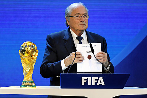 FIFA President Joseph S. Blatter announces that Russia will be hosting the 2018 Soccer World Cup during the FIFA 2018 and 2022 World Cup Bid Announcement in Zurich, Switzerland, December 2, 2010. Source: EPA