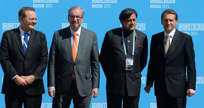 From left: President of the Federal Senate of the National Congress of the Federative Republic of Brazil Renan Calheiros, President of the Chamber of Deputies of the National Congress of the Federative Republic of Brazil Eduardo Cunha, Member for Parliament and former Minister Shashi Tharoor and Speaker of the State Duma of Russia Sergei Naryshkin at the BRICS Parliamentary Forum. Source: BRICS2015.ru