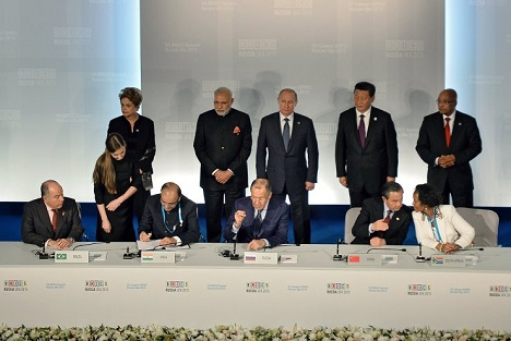 The signing of joint documents following the BRICS leaders meeting. Source: BRICS2015.ru