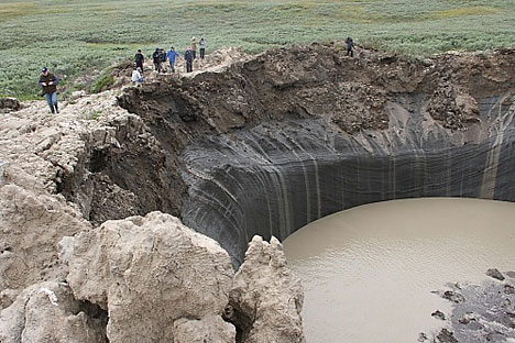 A total of four huge craters have now been found on the Yamal Peninsula. Source: Yamal regional government