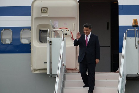 President of the People's Republic of China Xi Jinping arrives for the BRICS and SCO summits at Ufa International Airport. Source: BRICS2015.ru