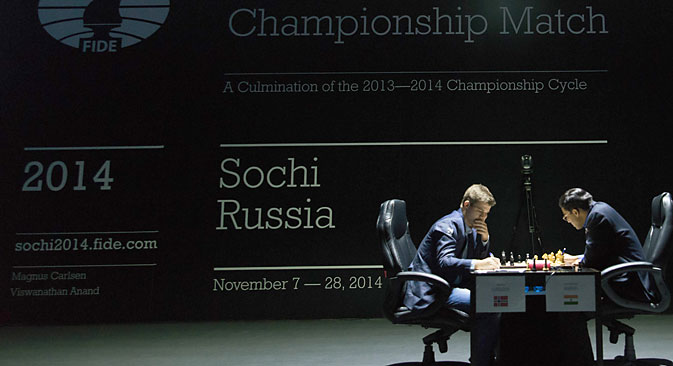 Magnus Carlsen and Viswanathan Anand. Source: EPA