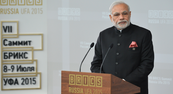 Narendra Modi, Prime Minister of the Republic of India, speaks at a meeting of BRICS leaders with the BRICS Business Council in Ufa. Source: BRICS2015.ru