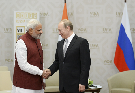 Vladimir Putin and Narendra Modi in Ufa.