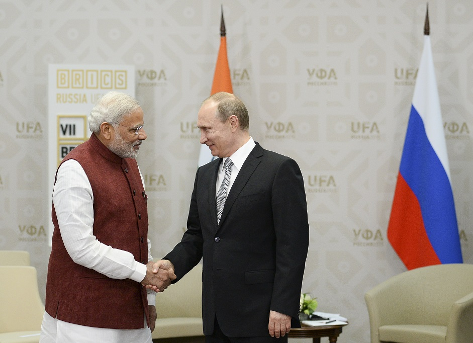 Narendra Modi and Vladimir Putin in Ufa, 2015.