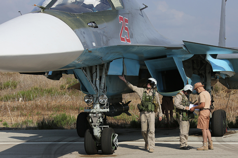 Russian pilots at Hmeimim airbase in Syria.