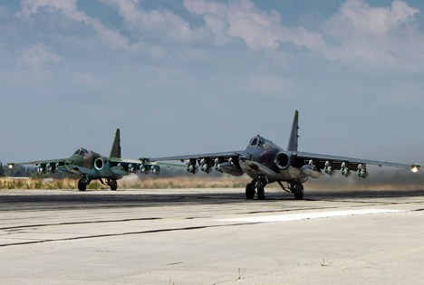 Two Russian SU-25 ground attack aircrafts take off from an airbase Hmeimim in Syria.