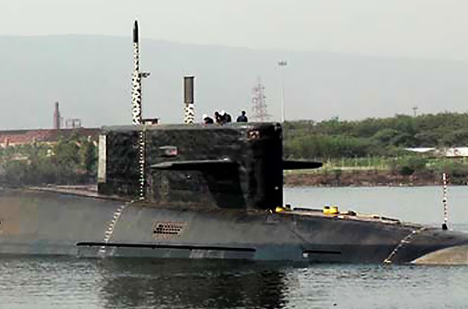 The first clear image of INS Arihant, taken by NDTV. Source: NDTV snapshot