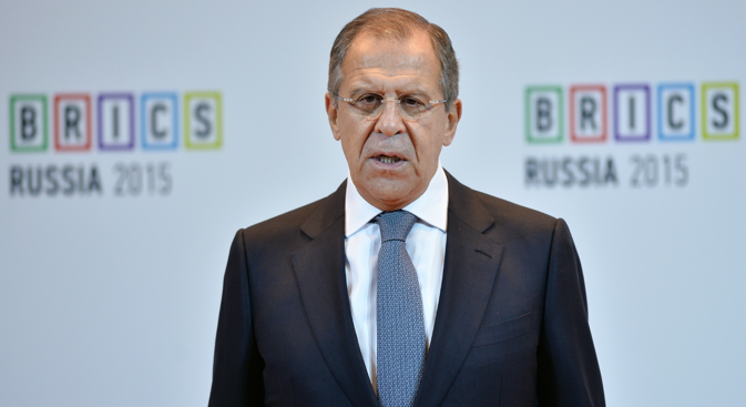 Minister of Foreign Affairs of Russia Sergei Lavrov at the BRICS Global University Summit.