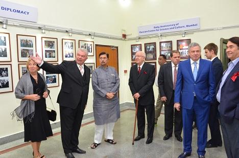 Russia's Ambassador to India Alexander Kadakin (C) at the RCSC in Mumbai.