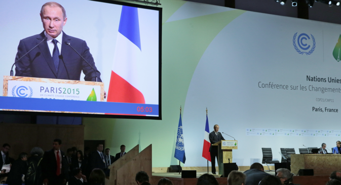 Russia's President Vladimir Putin speaks at the 2015 UN Climate Change Conference (COP21) in Le Bourget, near Paris.