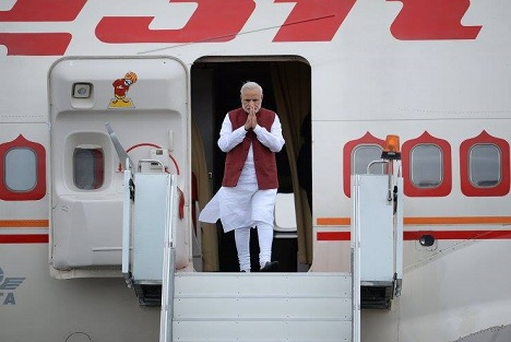 Narendra Modi arrives in Ufa for BRICS and SCO summits in July, 2015.