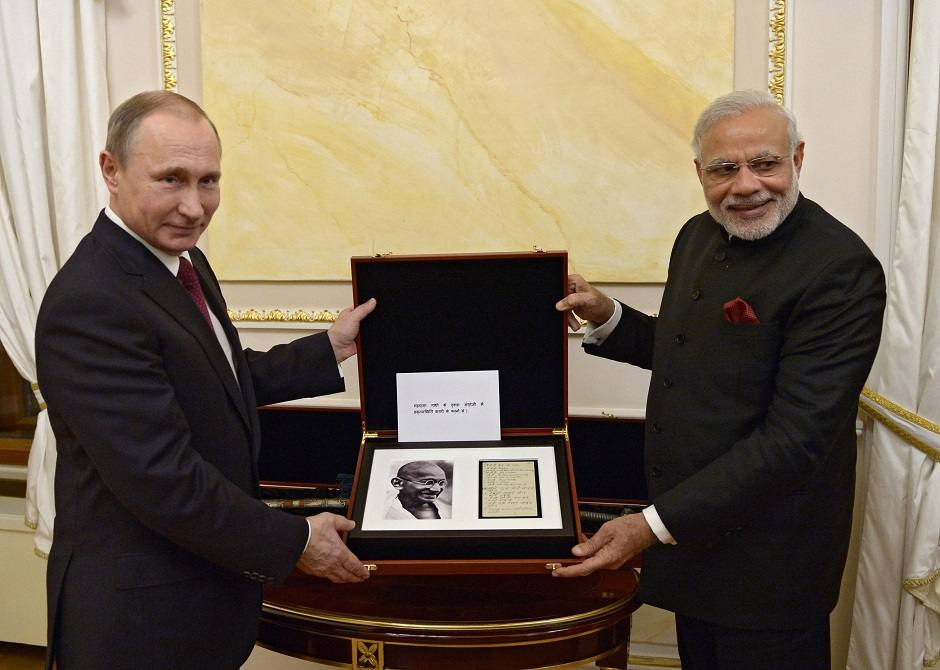 Narendra Modi with Vladimir Putin in Moscow, Dec. 23, 2015.