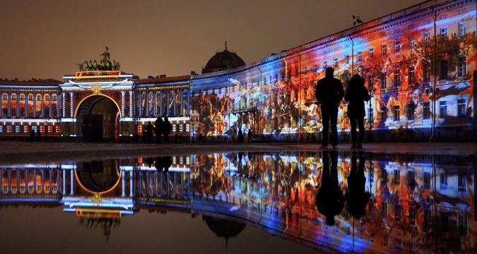 """Светлосни спектакл """"Бал историје"""" у част 250. годишњице Ермитажа, децембар 2014."""