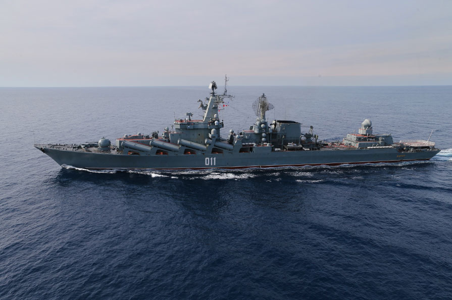 The Varyag guided-missile cruiser is leading the Russian naval group off the Syrian coast.