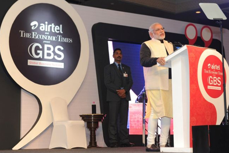 Modi at The Economic Times Global Business Summit 2016.