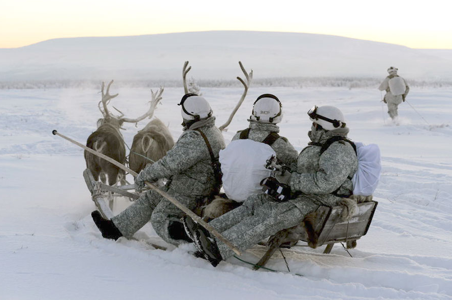 The Arctic brigade conducted exercises with husky dogs and reindeer.