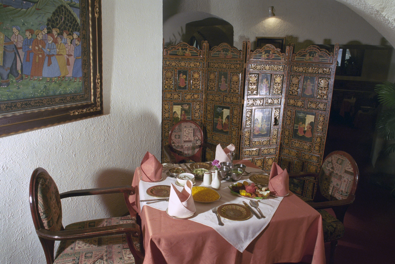 Interior of the Indian restaurant Maharaja in Moscow.