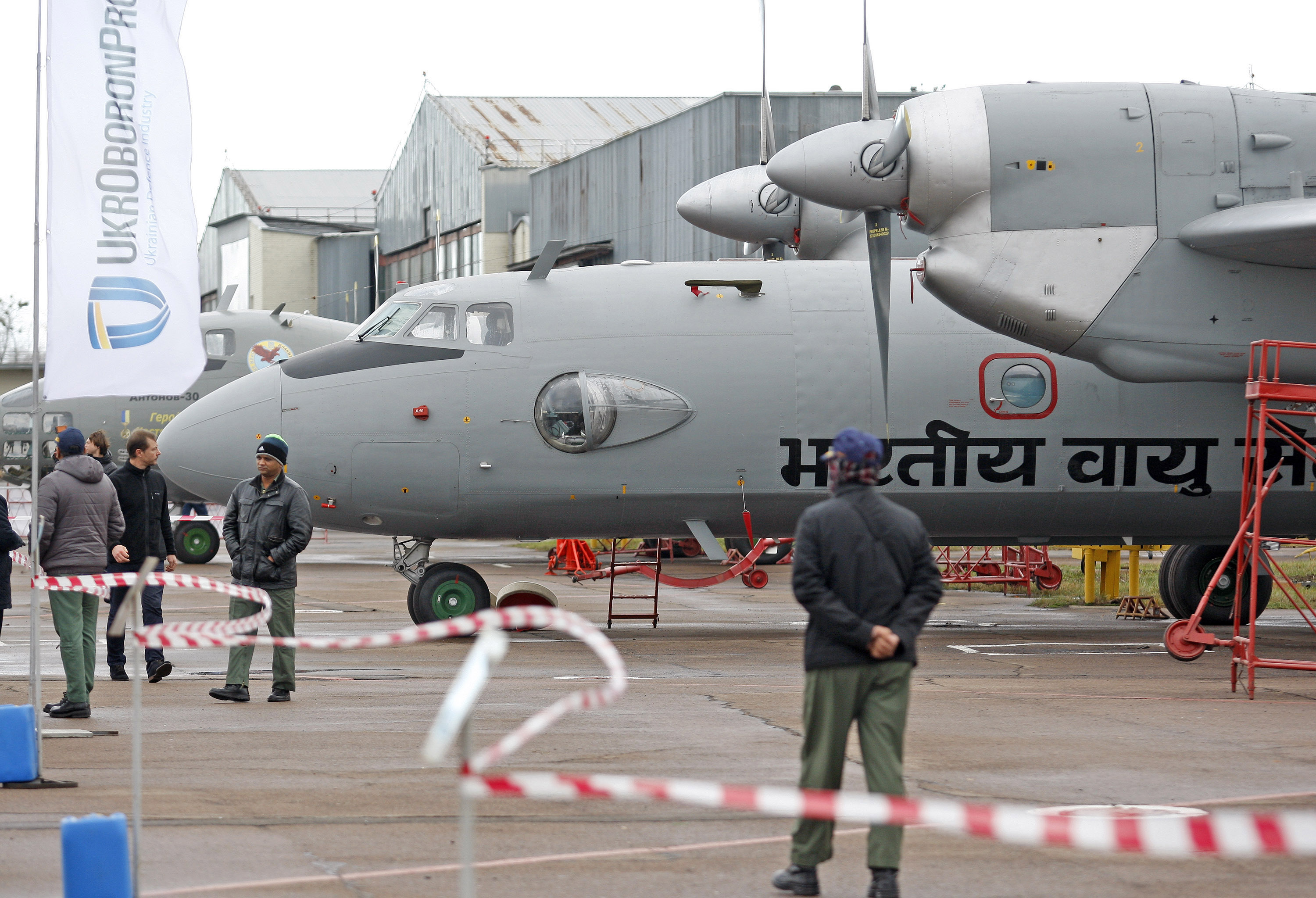 Representatives of Indian Air Force during the handover of 5 modernized AN-32RE planes for IAF on November 19, 2015 in Kiev, Ukraine.