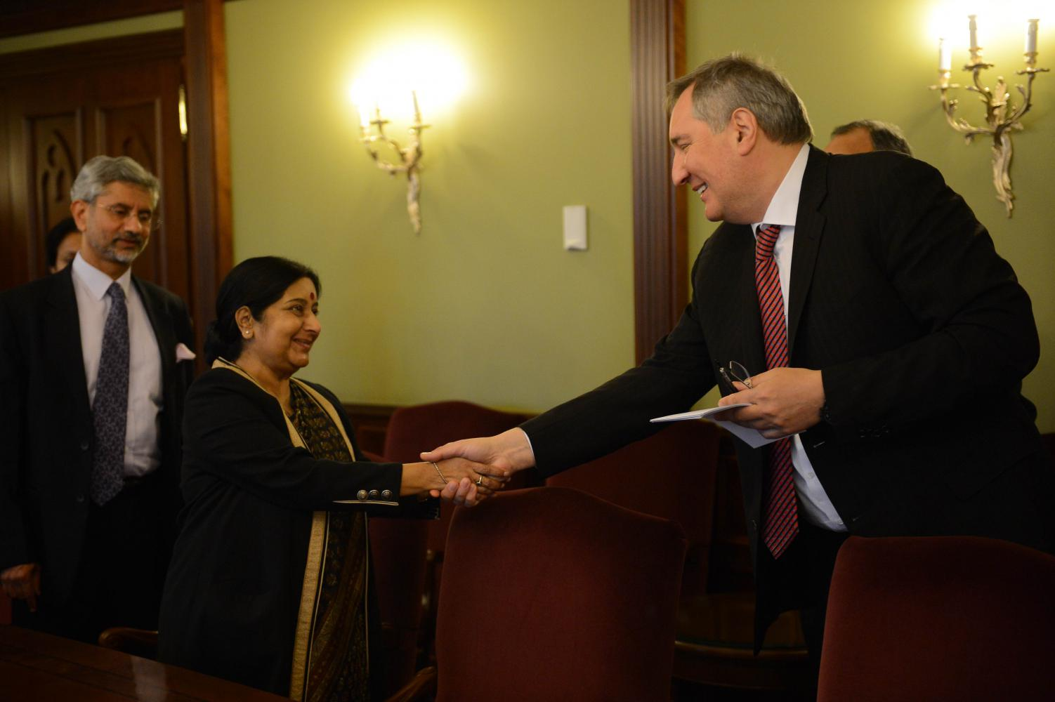 Swaraj and Rogozin reviewed progress in Russia's participation in India's defence sector under the Make In India program.