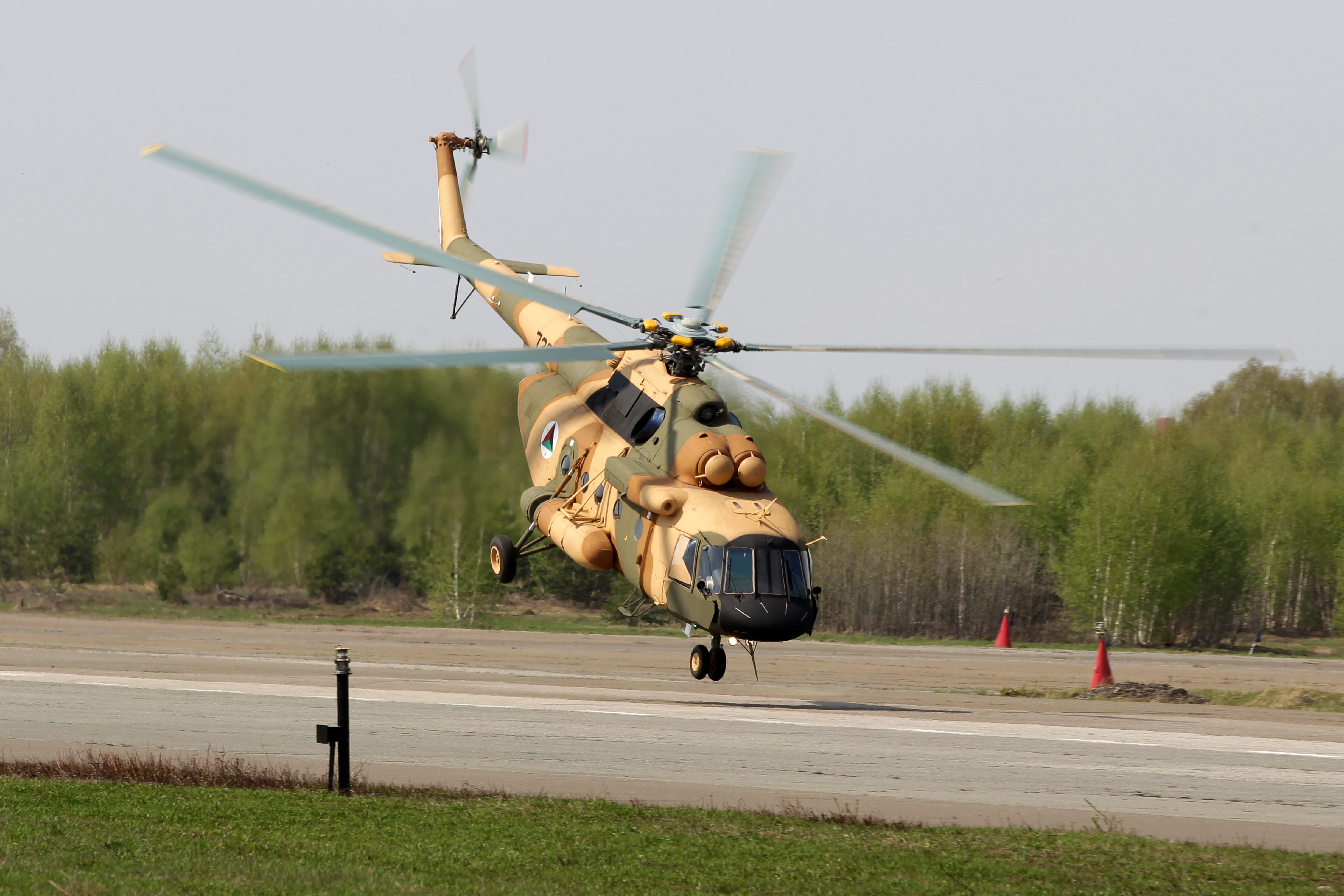 A Mi-17V-5 helicopter is demonstrated at the testing facility of the OAO Kazan Helicopter Plant, part of the Helicopters of Russia, a Russian helicopter building holding.