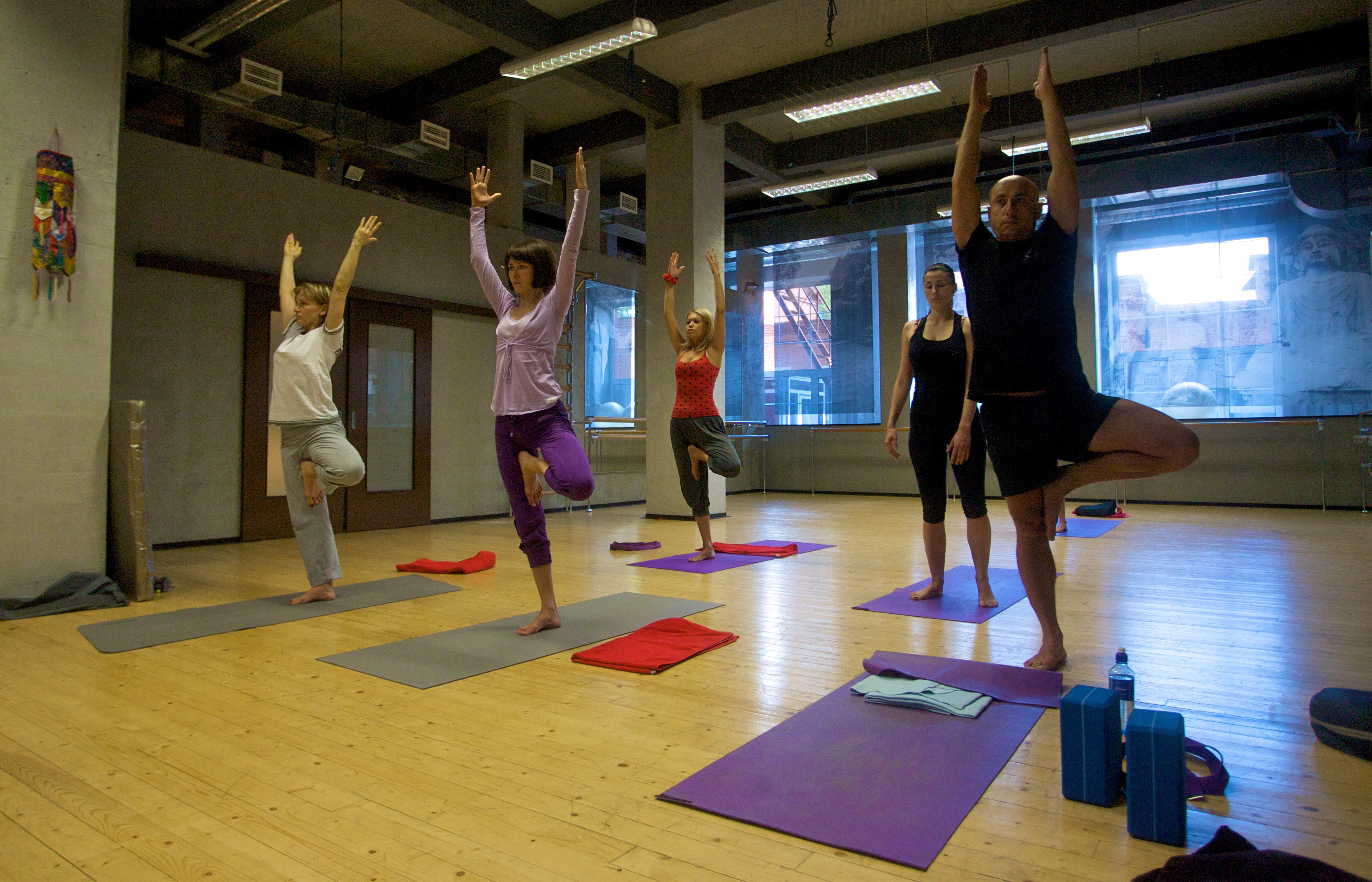 Yoga training at one of the Moscow clubs.
