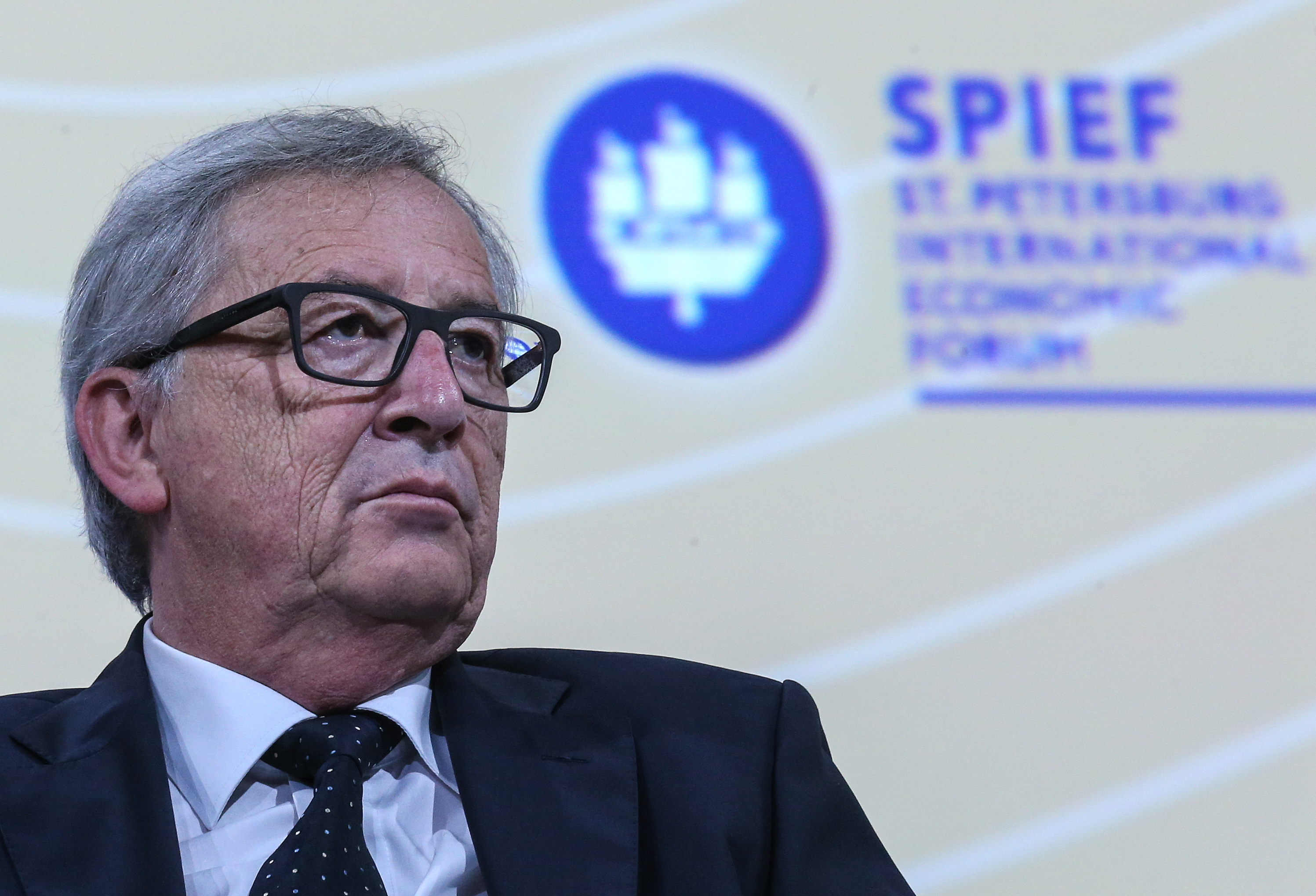The European Commission head Jean-Claude Juncker at the St. Petersburg Economic Forum.