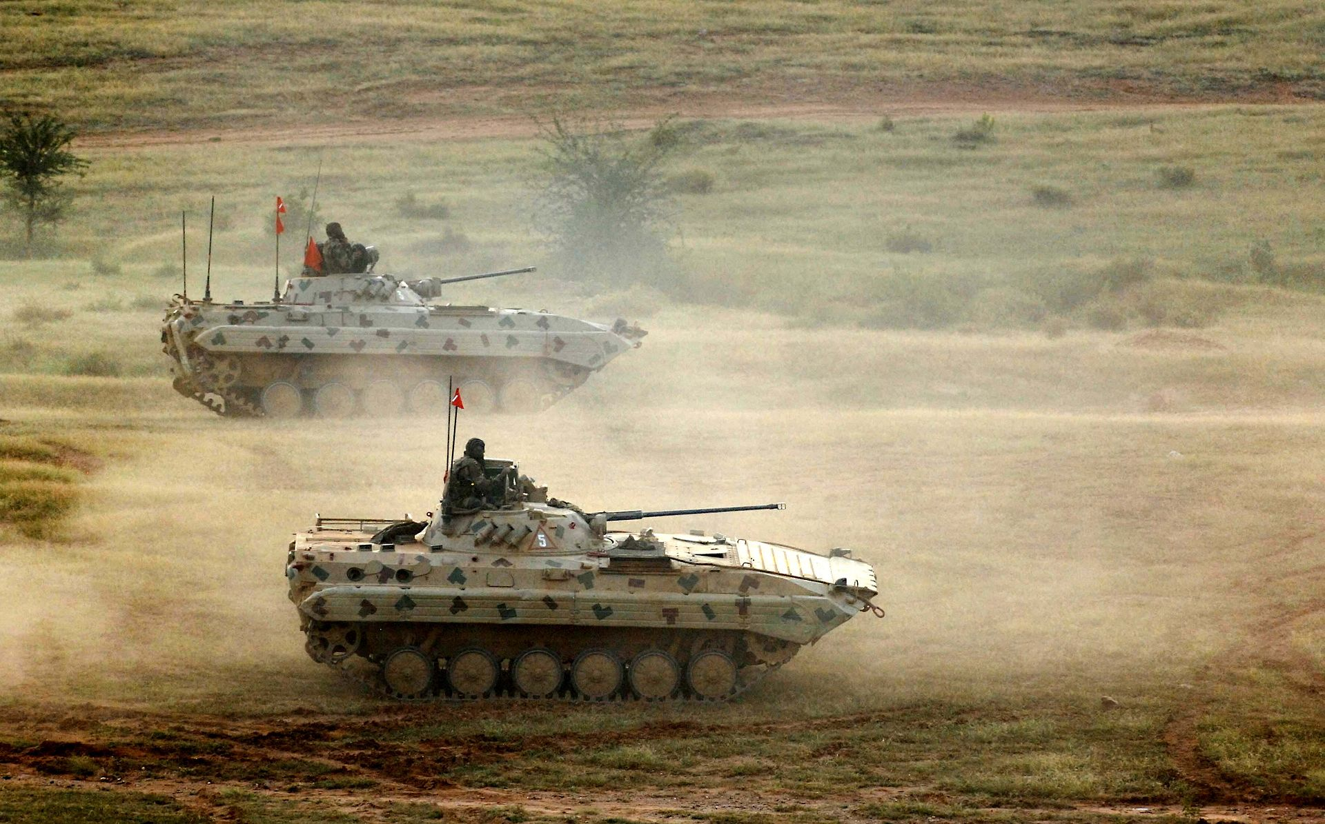 Indian Army's upgraded BMP-2 Sarath during military exercise in Rajasthan, India.