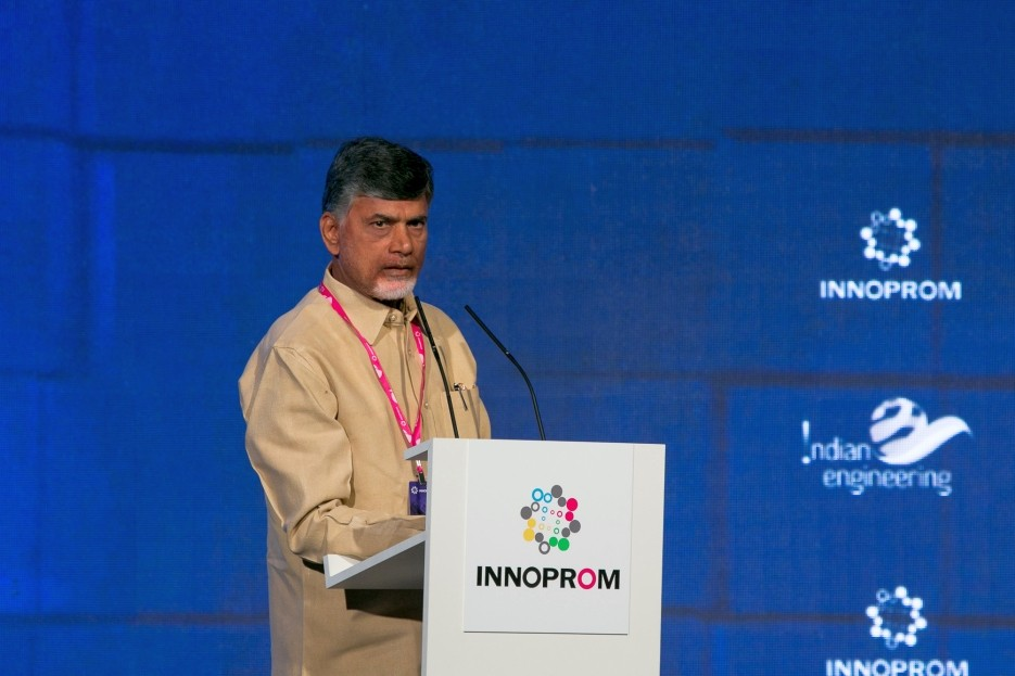 Chandrababu Naidu at INNOPROM-2016 trade fair.