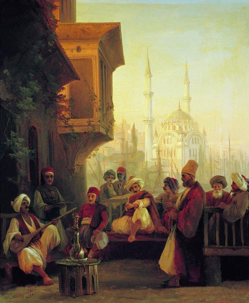"Oriental Scene. Turkish Coffee, 1846.Aivazovsky was the favorite artist of Tsar Nicolas I, a fact that helped the artist's career progress by leaps and bounds. In the summer of 1845 he accompanied the 18-year-old Grand Prince Konstantin (the second son of Nicholas I) on his first tour around Turkey. Constantinople delighted him: ""There is nothing more sublime than this city. It makes one forget both Naples and Venice,"" the artist wrote."