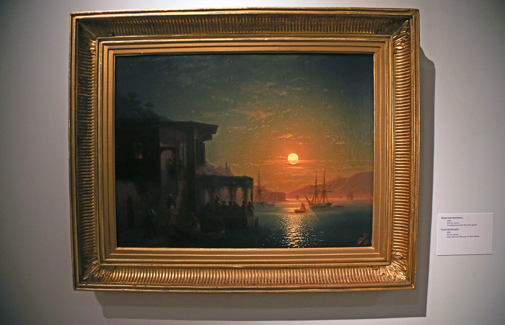 Constantinople, 1882.The fact that Aivazovsky had painted the Russian fleet's victory over the Turks did not stop the Ottoman Empire's rulers from buying Aivazovsky's canvases of Constantinople. The artist clearly takes delight in the effects of light here, sketching an ephemeral trail of moonlight on the water, filling the background with a yellow-lilac luminescence and setting up the painting's composition as if the canvas were a theatre stage with darkness in the wings.