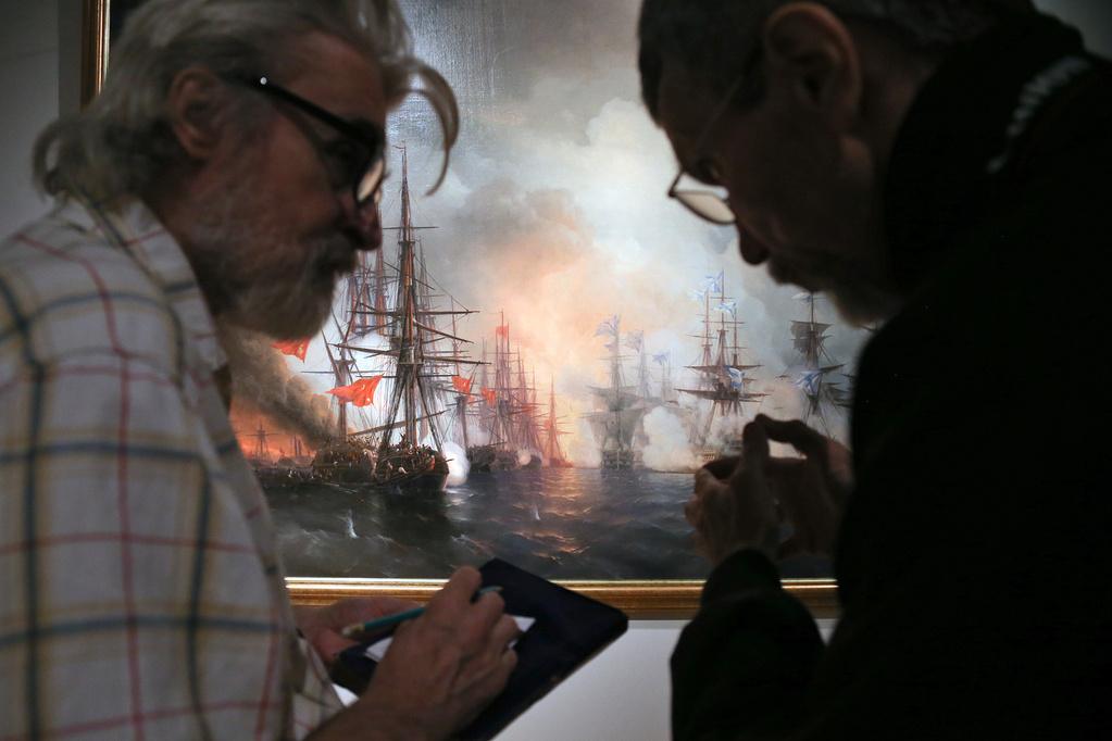 The Battle of Sinop, 1853.Aivazovsky's great talent for painting seascapes from memory was matched by his ability to depict war scenes based on eyewitness accounts.  His skills were underpinned by a deep knowledge of both subjects. He had observed the sea closely since childhood, and learnt how to paint naval battles after studying ships being rigged and completing manoeuvres. He went on to depict most of the significant victories of the Russian fleet.