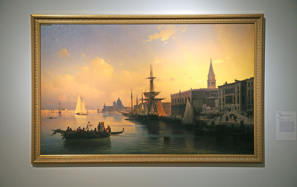 Venice, 1842.This is one of the best-known views of Venice, painted many times over by European masters. If other 19th century artists were seized by the pace of life in the city, Aivazovsky the Romantic was enamoured of Venice's water and its light. The clash and symbiosis of water and light, and not the people in the boat, is the painting's only true subject.
