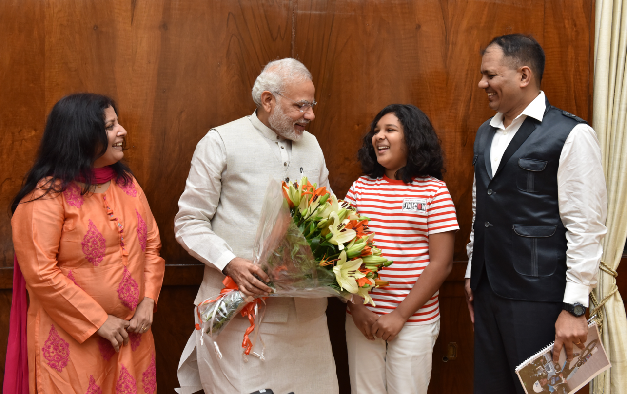 Before leaving for Russia to climb Mt Elbrus, Aryan Balaji got a chance to meet India's Prime Minister Narendra Modi.