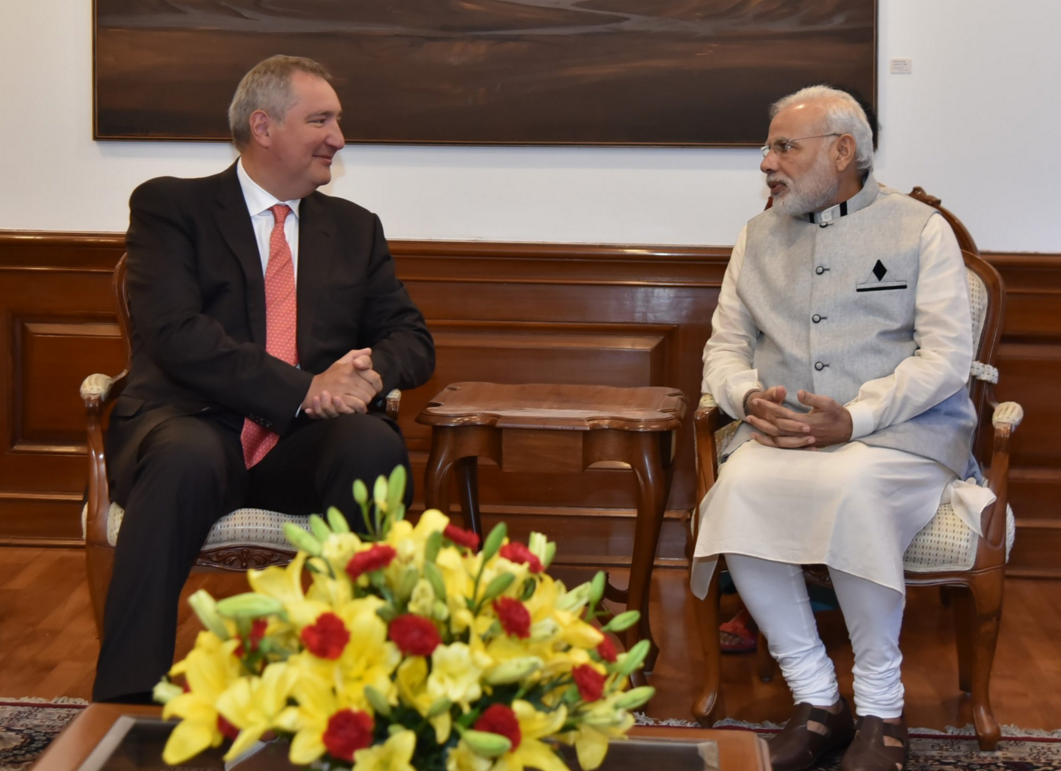 Dmitry Rogozin and Narendra Modi in New Delhi on August 20, 2016.