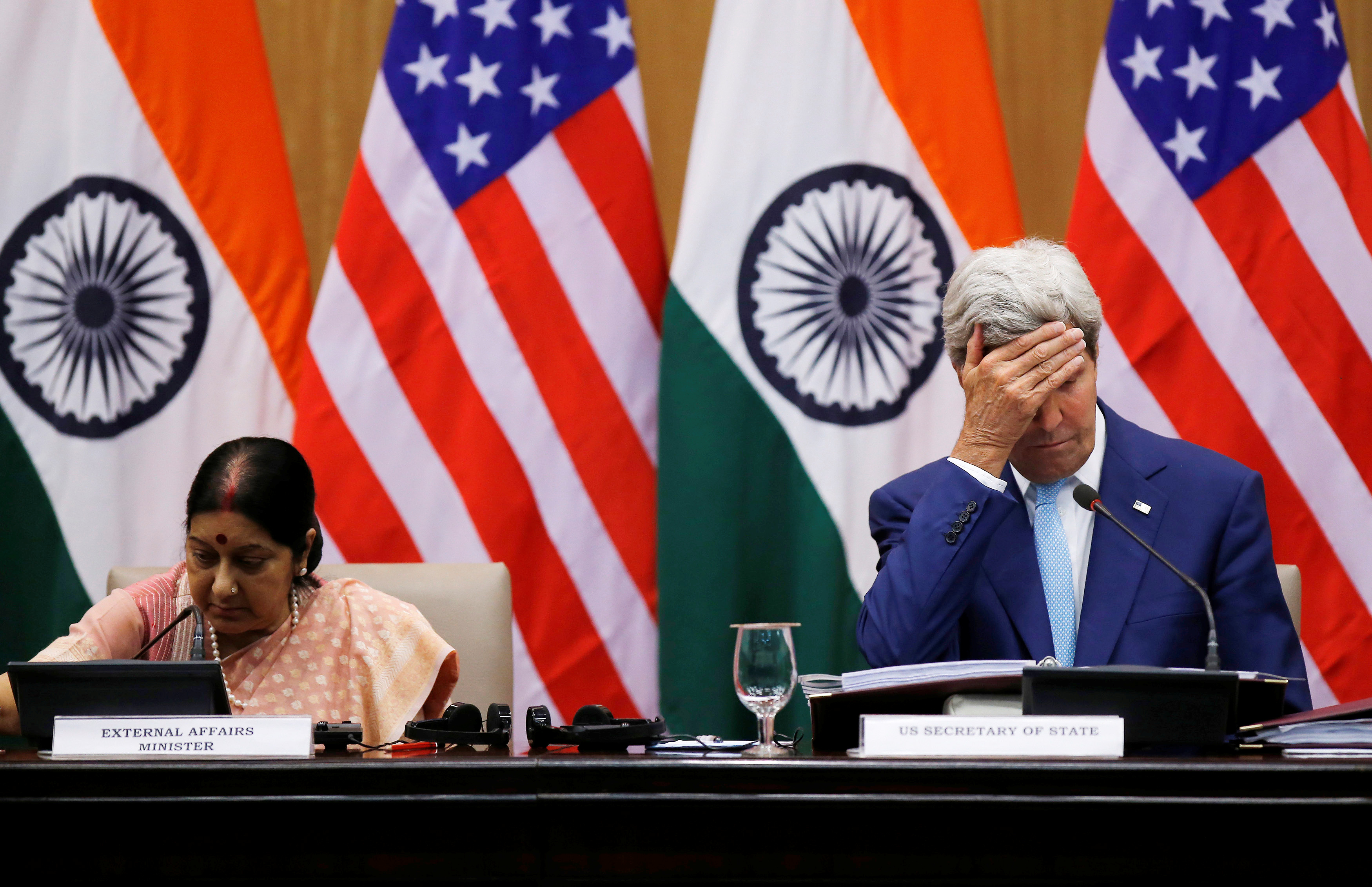 U.S. Secretary of State John Kerry and India's External Affairs Minister Sushma Swaraj during their joint news conference on August 30, 2016 in New Delhi, India.