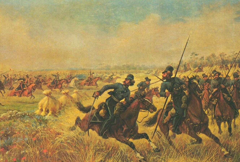 Viktor Mazurovsky. General Platov's cossack cavalry deployed at Mir (1912,  Fragment)