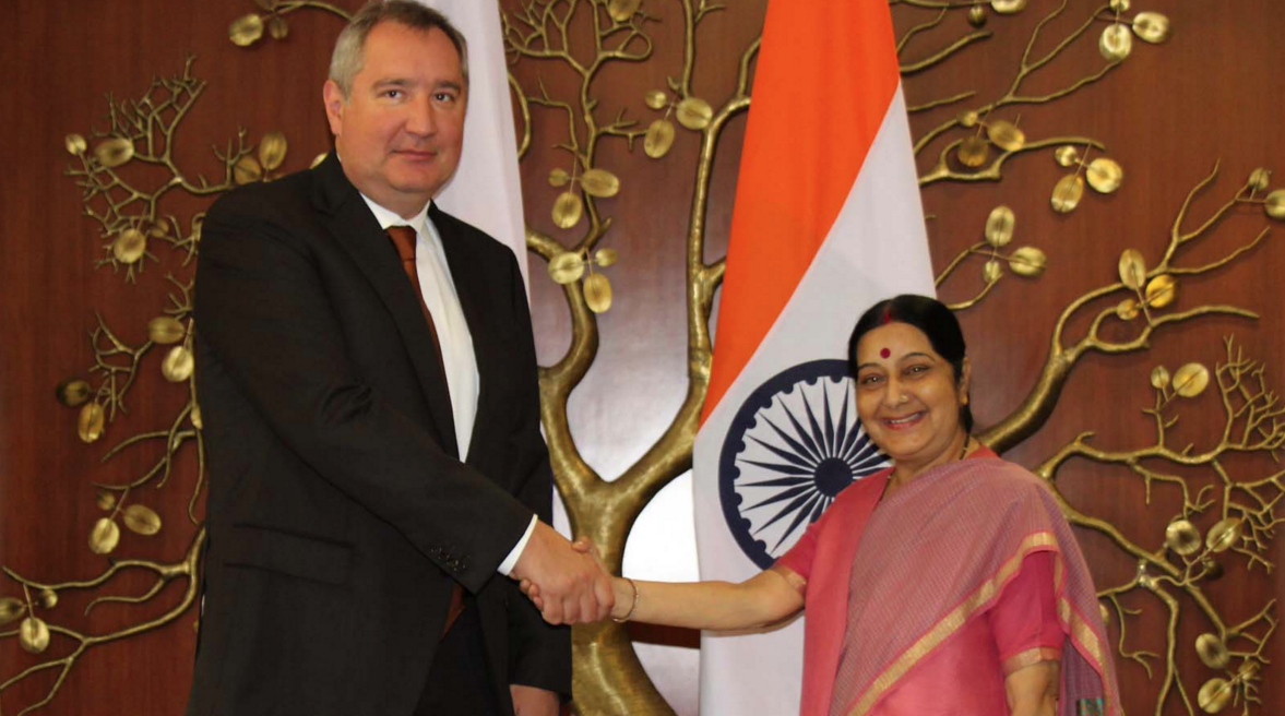 Sushma Swaraj, India's External Affairs Minister, and Dmitry Rogozin, Russia's Deputy Prime Minister.
