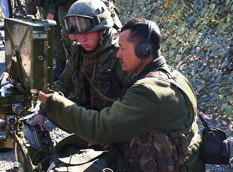 Military personnel used Russia's Orlan-10 drone to strike simulated terrorist groups.