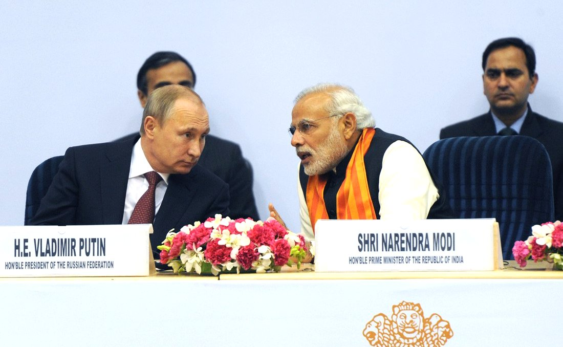 Vladimir Putin and Narendra Modi in New Delhi, 2014.