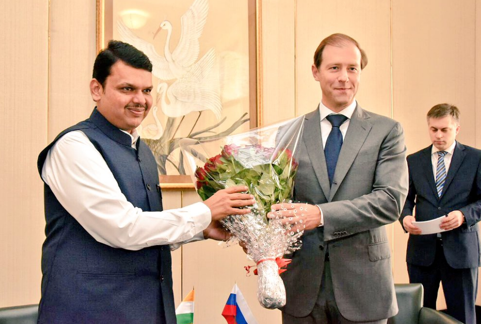 Denis Manturov and Devendra Fadnavis, Chief Minister of Maharashtra.