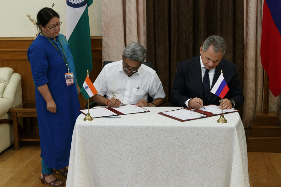 Defence Minister Manohar Parrikar and his Russian counterpart Sergei Shoigu sign protocol document after the 16th meeting of the India-Russia Intergovernmental Commission on Military-Technical Cooperation in New Delhi on Wednesday, October 26, 2016.