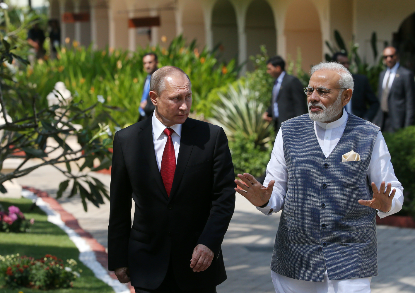 Russian President Vladimir Putin and Indian Prime Minister Narendra Modi, right, during their meeting at Taj Exotica Goa, India.