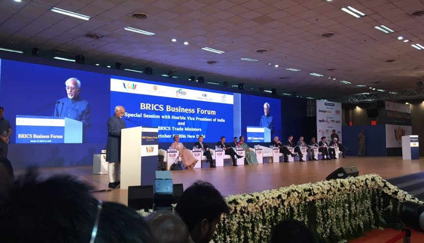 Indian Vice-President Hamid Ansari at the BRICS Business Forum.
